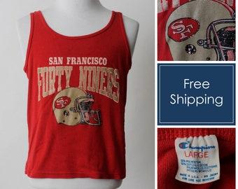 4505e2dc1 Vintage 49ers Tank Top T Shirt TShirt T Shirt San Francisco 49 Football NFL  Champion - 80 s Retro Men s Medium M Women s Large L Made USA