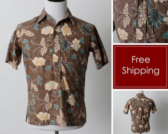 76aa72723 Vintage Men's Hawaiian Shirt Hawaii Hibiscus Brown Island Beach - 80s Retro  Small S Made in the USA