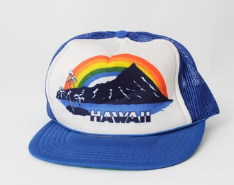 00465451c01d5 Vintage Rainbow Hawaii Snapback Trucker Hat Snap Back Maui - 80 s Retro  Hawaiian