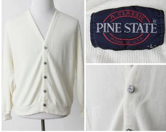 dbf14971d1 Vintage Men s Cardigan Pine State White - Retro 80 s Large L Made in USA
