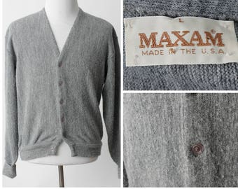 15f1dc5fa7 Vintage Men s Cardigan Gray Maxam - 80s Retro Large L Made in the USA
