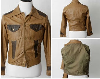 5f6ef909ec7d Men s Vintage Leather Jacket Brown - 80 s Retro Small S
