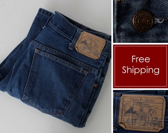 bd081ba0019 Vintage Plain Pockets Jeans JC Penney Blue 32 x 32 Jean Denim Flare - Retro  70's Men's Women's 32 x 31.75 Made in USA