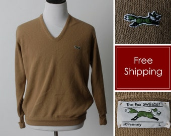 Vintage Fox Sweater Brown JC Penney - Men s 70s Retro Large L Made in the  USA f37f994d5