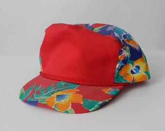 huge selection of 1c97f 36745 Vintage Hawaii Hat Snapback Hawaiian Floral Hibiscus Red Flower - 80 s  Retro Nissin
