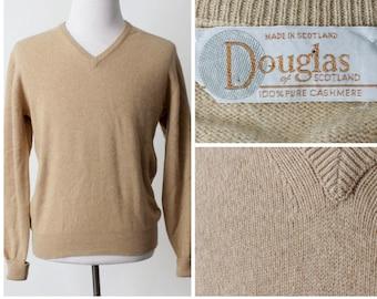 1e48a260085c5 Vintage Men s Cashmere Sweater Douglas Brown - 70 s Retro Large L Wool  Scottish Made in Scotland