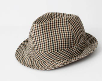 f819a14e7ae735 Vintage French Fedora Hat Houndstooth Cap Men's - 60s Retro Made in France  Size 7 1/8 Medium 57