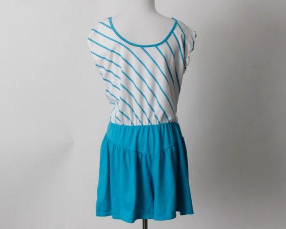 Vintage 80s Romper Women's Blue White Stripe Romp… - image 5