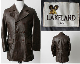 Vintage Men's Leather Coat Lakeland - Retro British With Beautiful Detail Medium M 9cpDw