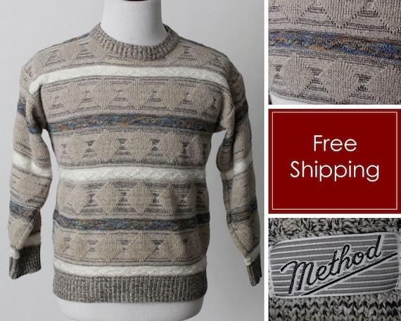 Vintage 80s Sweater Men's Women's Coogi Style Tan… - image 1