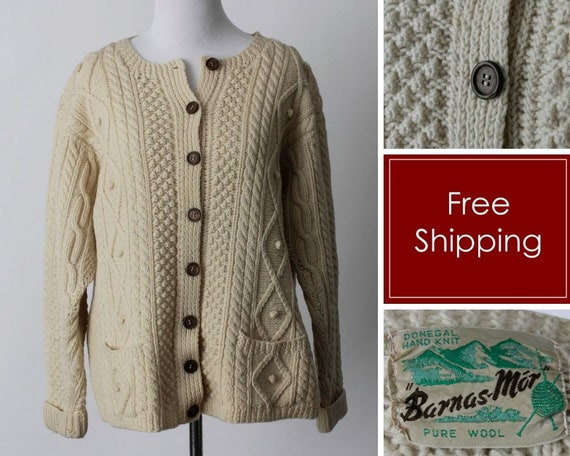 Vintage 50s Cardigan Sweater Women's Wool Donegal