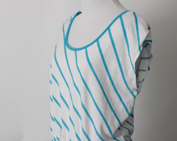 Vintage 80s Romper Women's Blue White Stripe Romp… - image 3