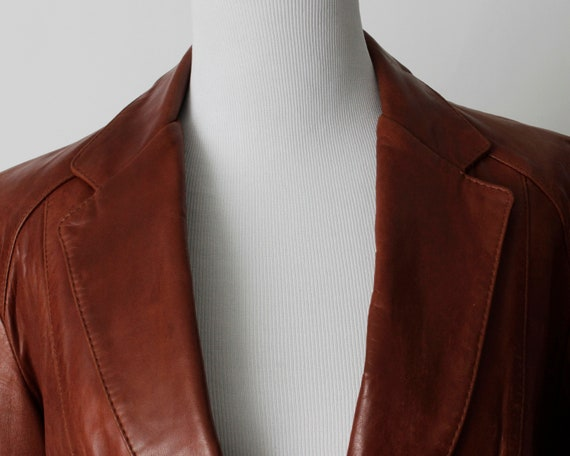 Vintage 70s Women's Leather Coat Brown Soft Remy … - image 3