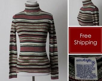 Vintage 80's Turtleneck Women's Stripe Red Green White - Retro 80s XS XXS Extra Small P Petite