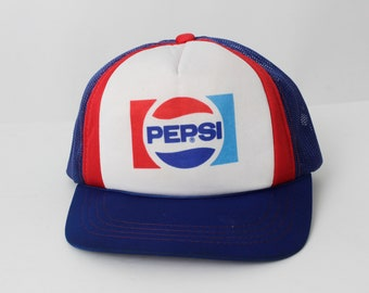 Vintage 80s Pepsi Hat Snap Back Snapback Trucker Blue Red Logo Stranger Things - 80s Retro