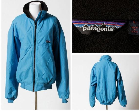 28df90f3bb6b Vintage Patagonia Fleece Coat Jacket 90s Blue Teal Black