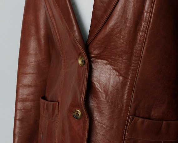Vintage 70s Women's Leather Coat Brown Soft Remy … - image 5