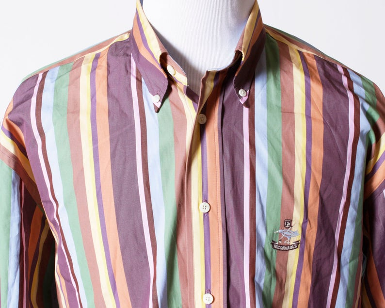 Vintage Men/'s Shirt Faconnable Multi Color Stripe Logo Bird Retro 90/'s Extra Large XL XXL Button Down