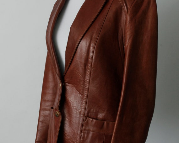 Vintage 70s Women's Leather Coat Brown Soft Remy … - image 4