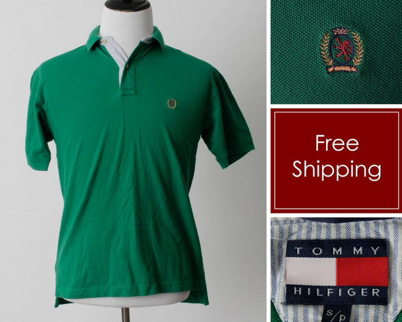 99ca9a6aac3 Vintage Tommy Hilfiger Shirt Polo Men's Crest Green 90s | Etsy