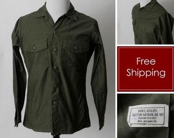 Vintage 1970's Military Shirt Green 1974 DSA100-74-C1427 Green Army - 70's Retro Medium M