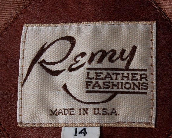 Vintage 70s Women's Leather Coat Brown Soft Remy … - image 8