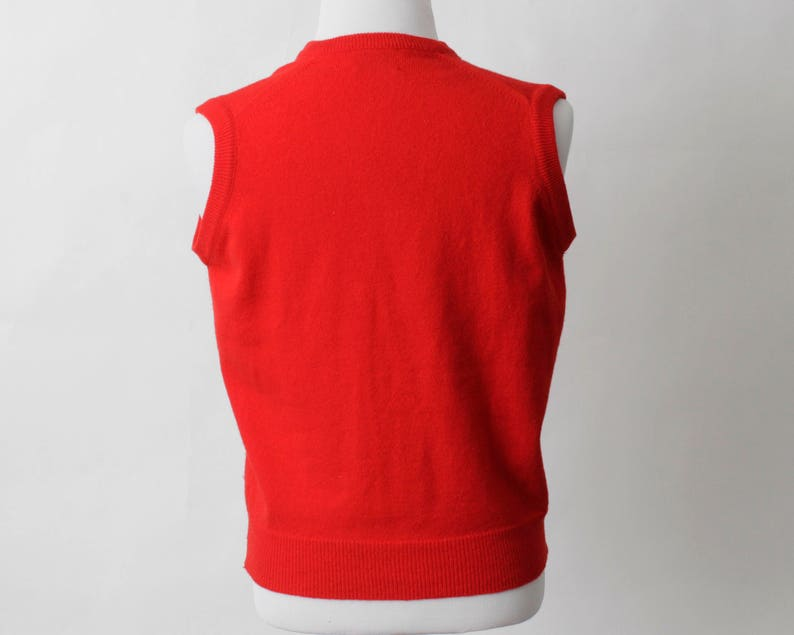70/'s Retro Medium M Red Made in USA Vintage Men/'s Sweater Vest Lord Jeff Wool Lambswool
