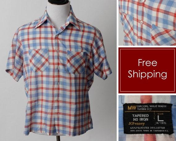 Vintage 70s Shirt Checker Men's JC Penney Penny Sh