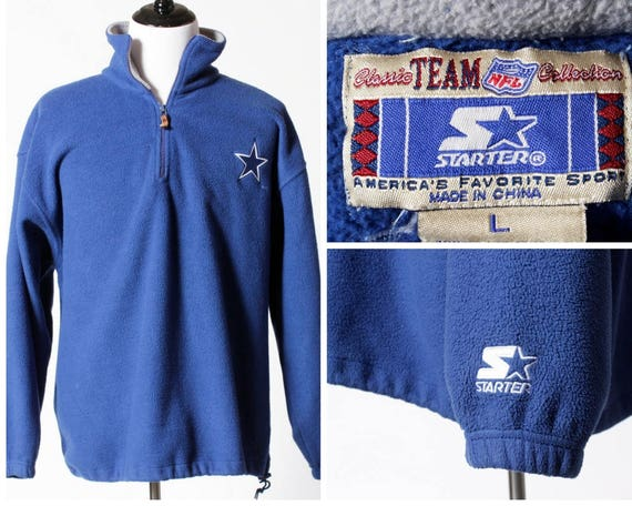 release date: e7833 ad8a5 Vintage Men's Starter Dallas Cowboys Fleece Jacket 1/2 Zip Pullover  Football NFL - 90s Vintage Retro Large L