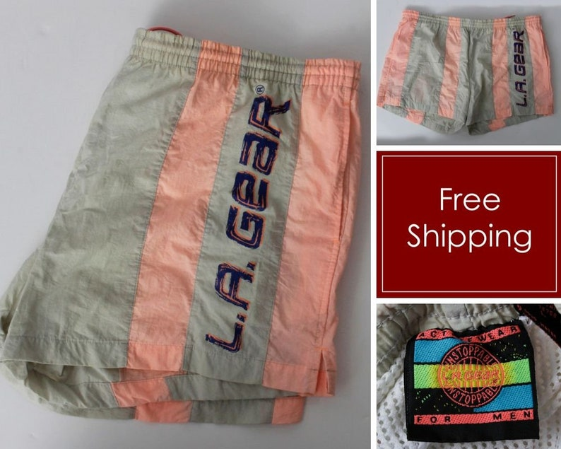 90s Retro Men/'s Large L XL Vintage LA Gear Shorts Swimming Gray Salmon Men/'s Spell Out Graphic