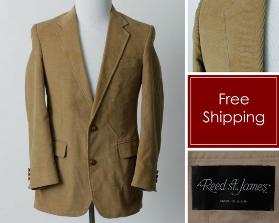 Vintage Men's Corduroy Blazer Jacket Suit Coat Sp… - image 1