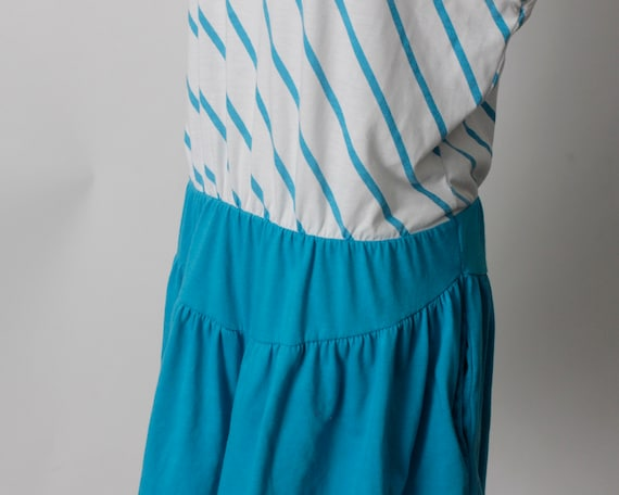 Vintage 80s Romper Women's Blue White Stripe Romp… - image 4