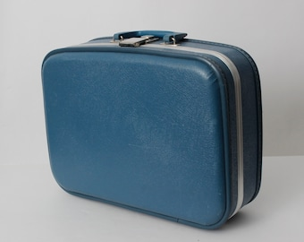 Vintage 70s Suitcase Bag Small Travel Tote Blue Mirror Hard Shell - 70's Retro Handbag Purse