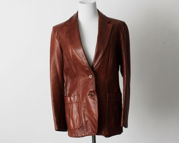 Vintage 70s Women's Leather Coat Brown Soft Remy … - image 2