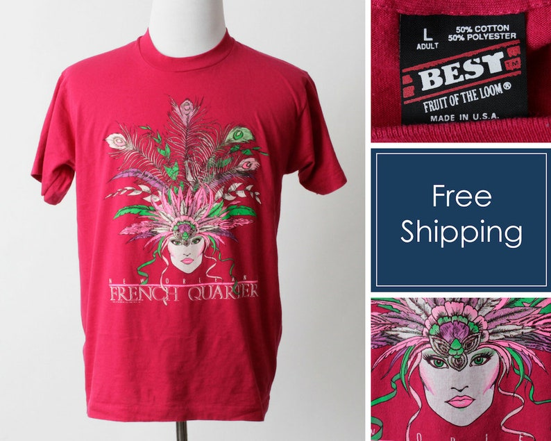 68b7993db04 Vintage New Orleans TShirt T Shirt Mardi Gras French Quarter | Etsy