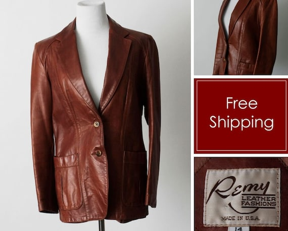 Vintage 70s Women's Leather Coat Brown Soft Remy … - image 1