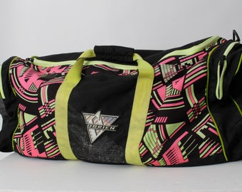 Vintage 80s Duffel Bag O'Brien Geometric Yellow Pink Large - 90s 80's Tote Hand 30 x 13