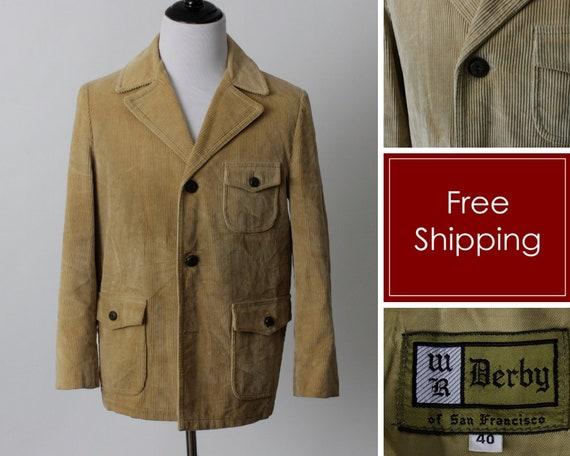 Vintage Men's Corduroy Jacket Blazer Coat Beige -