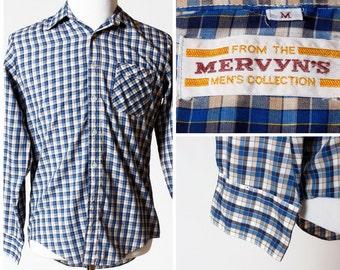 Vintage Men's Gingham Shirt - 80's Mervyns Medium M Long Sleeve