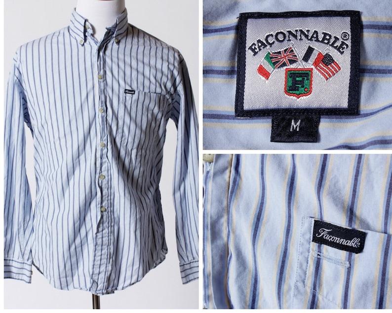 f30ef005 Vintage Men's Faconnable Shirt Stripe Blue Retro | Etsy