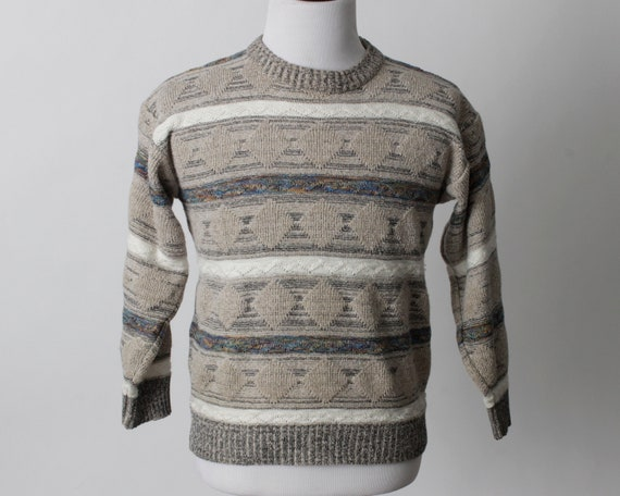 Vintage 80s Sweater Men's Women's Coogi Style Tan… - image 2