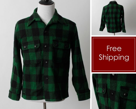 Vintage 40's Men's Buffalo Plaid Wool Shirt Green