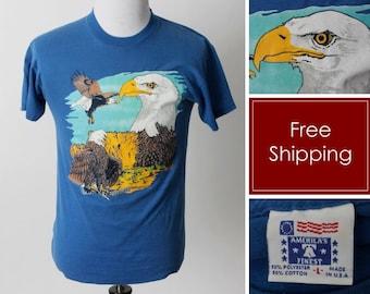 Vintage 90s Eagle T Shirt Tee T-Shirt America American Eye Animal - 90's Retro Men's Small S Women's Medium M