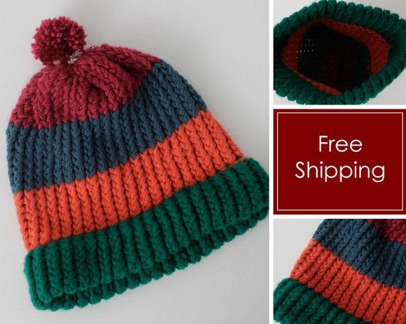 Vintage Hat Beanie Knit Took Stripe Winter Hand Ma