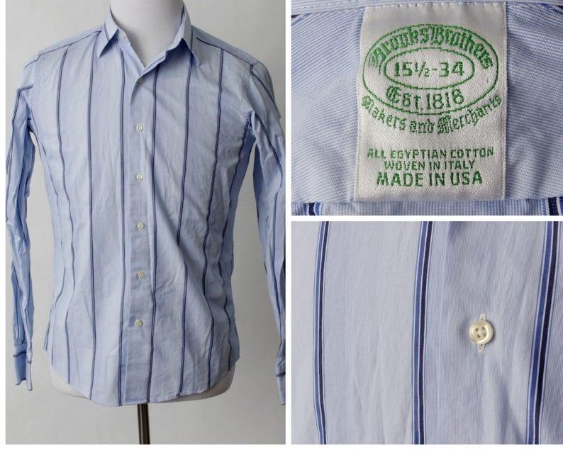 eadcac09 Vintage Men's Brooks Brothers Shirt Blue Stripe 90's | Etsy