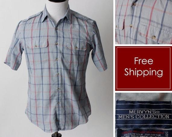 Vintage 80s Men's Shirt Mervyn's Plaid Short Sleev