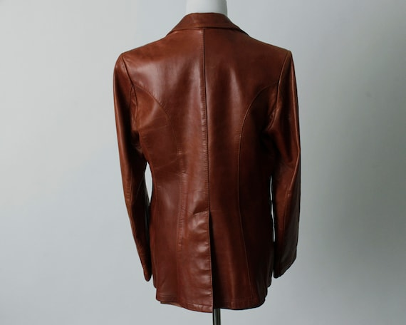 Vintage 70s Women's Leather Coat Brown Soft Remy … - image 9