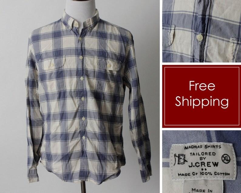 4c1906a16d160f Men's J Crew Factory Madras Shirt Plaid White Blue Extra | Etsy