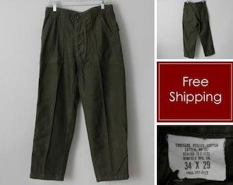 Vintage 70's US Army Pants Men's Sateen Vietnam Era 1973 Utility Uniform OG107 OG-107 - 70's Retro Small 30 x 27
