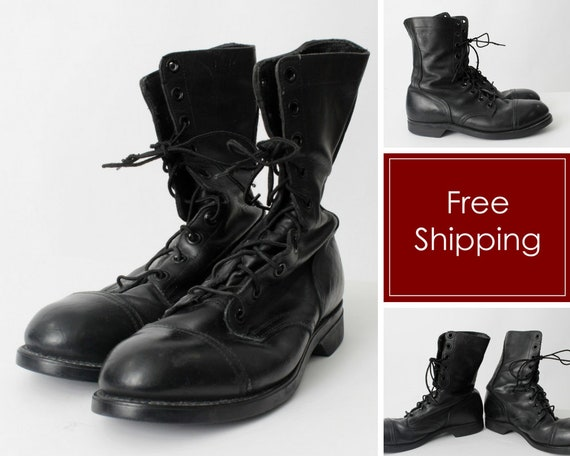 c19db0871c8 Vintage Military Boots Combat Size 9 / 9.5 ANSI Z411 1983 75 Black Jump  Army - US 9 / 9.5